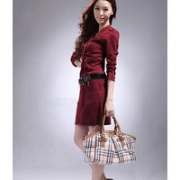 Red Dress Women Spring Autumn Vintage Sweet Single-breasted Polyester Clothing One Size @WH0426r $12.48 only in eFexcity.com.