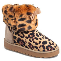 Leopard Print Snow Boots With Bowknot Design