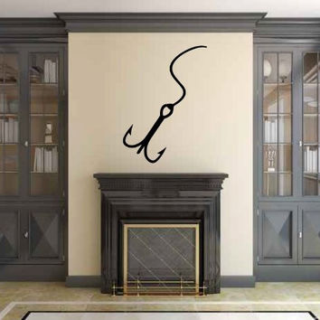 Fish Hook Silhouette Vinyl Wall Decal Sticker Graphic