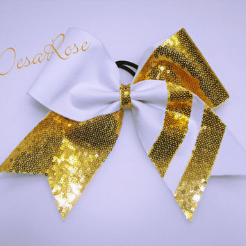 Stripe Supreme Cheer bow in Gold & White