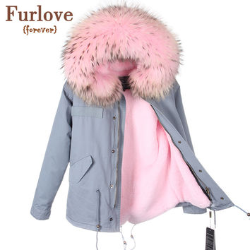 Parkas For Women Winter 2016 Army Green Coat Real Large Raccoon Fur Collar Thicken Cotton Padded Jacket Outerwear Female Brand