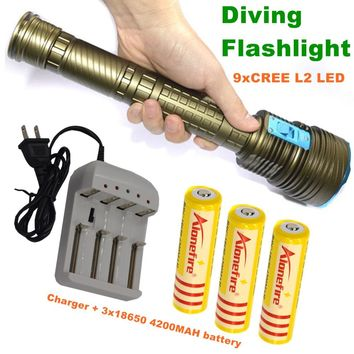 21000LM Underwater diving CREE L2 Torch for d+18650 Rechargeable batteries+Charger
