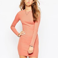 ASOS Mini Bodycon Dress With Long Sleeves in Rib