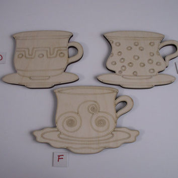 Teacup Wood Shapes, 3 Pieces, Assorted Styles, Unfinished Wood, Laser Cut, Ready to Paint Wood Shapes, Ornaments, Wreaths, Door Hangers