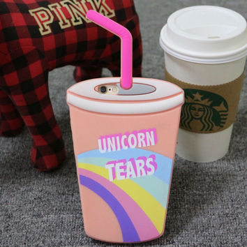 Krusty Spongebob Batman Wonder Woman Unicorn Tears Starbuck Coffee Straw Cup Silicone Phone Case for iPhone 5 6S 6Plus