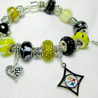 Licensed Pittsburgh Steelers Charm on a European Style Bracelet-Double Sparkle