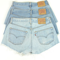 Vintage Levis 501 Denim Shorts High Waisted Hotpant Jean 6 8 10 12 14 16