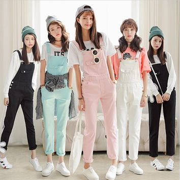 Free Shipping 2017 Summer Spring Denim Jumpsuits Women's Overalls Pants/Ladies' Jeans Candy Color Rompers/Female Suspender W362