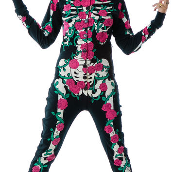Too Fast Rose Vine Skeleton Skelly Footed Pajamas Black