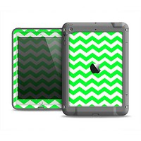 The Green & White Chevron Pattern Apple iPad Air LifeProof Fre Case Skin Set