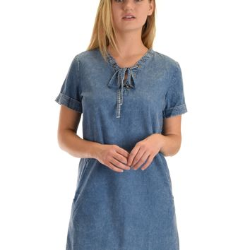 SL4957 Denim Half Sleeve Woven Washed Denim Dress With Lace Up And Side Pocket