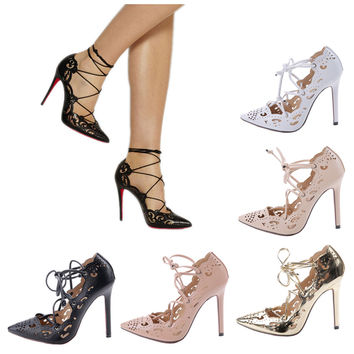 Pumps  Sexy Pointed Cut-outs Women Shoes Lace up High heels Dance and Party Shoes Big Size EUR 35-40