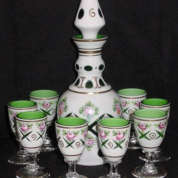 776022 Green Overlay Decanter W/8 Cordials, Cross Cuts, Gold Dec