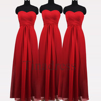 Custom Red Cheap Long Prom Dresses Bridesmaid Dresses 2014 Wedding Party Dress Party Dresses Evening Gowns Formal Wear Homecoming Dresses