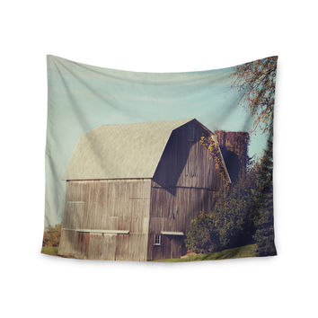 "Angie Turner ""Gray Barn"" Brown Blue Wall Tapestry"