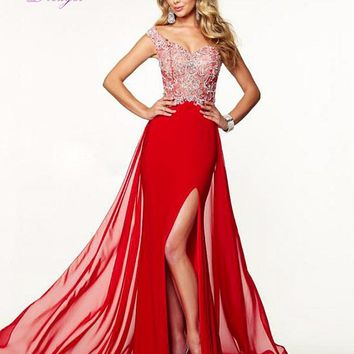 Dreagel New Arrival Sweetheart Beaded Appliques Trumpet Prom Dress 2017 Graceful Taffeta Front Split Formal Dress Robe de Soiree