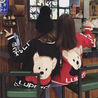 """Moschino"" Women Multicolor Letter Cute Bear Cartoon Knit Long Sleeve V-Neck Cardigan Sweater Coat"