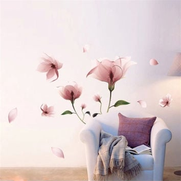 New Romantic Elegant Frosted Pink Lily Flower Petal Removable Wall Sticker For Vinilos Paredes Bedroom Living Room Home Decor