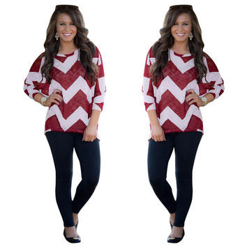 Red and White Wave Striped Print 3/4 Sleeve Blouse