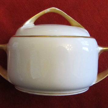 Rosenthal China Sugar Bowl With Gold Gilt Trim-Selb, Bavaria, Germany, Donatello Pattern