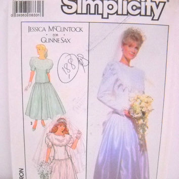Wedding Dress Pattern, Simplicity 9009, Jessica McClintock, Size 6, Un-Cut