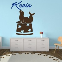 Wall Decals Personalized Name Fur Seal Vinyl Sticker Decal Custom Name Girls Boys Initial Monogram Children Baby Decor Nursery Kids Room Bedroom Art NS223