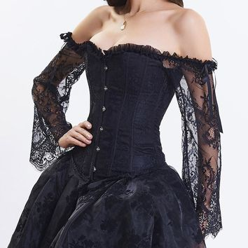 Floral Lace Long Flare Sleeve Black Victorian Corset Bustier Top