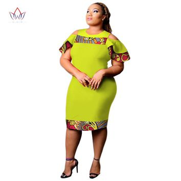 Dashikis Dress Dashiki 2017 Summer Vestidos Print Dress African Fashion Custom Africa sheath Dress for Women Clothing 3xl WY2341