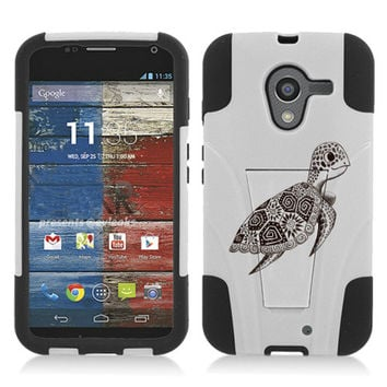 Cute Turtle Custom Hybrid White/Black Y Stand Protective Skin Case Cover for Motorola Moto X Phone XT1058