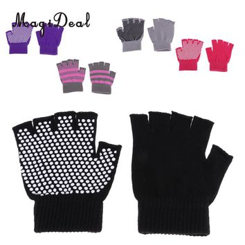 Breathable Cotton Yoga Gloves Workout Fitness  Half Finger Glove with Anti-Slip Silicone Beads for Women Men