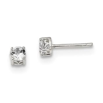 Sterling Silver 4mm Round Genuine White Topaz Post Earrings