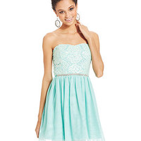 As U Wish Juniors' Strapless Lace A-Line Dress