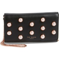 Ted Baker London Steff Imitation Pearl Studded Leather Clutch | Nordstrom