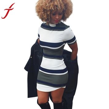 Women Dress Casual Bodycon Short Sleeve Slim Fit Party Stripe Print Tight Mini Dress