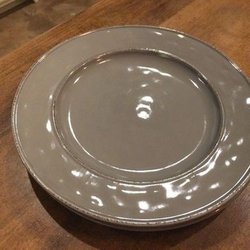 Set of 2 - Pier 1 Imports Martillo Fog Gray Grey Dinner Plates Stoneware 10 3/4""