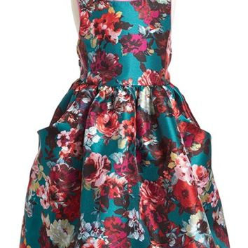 Girl's Pippa & Julie Floral Print Shantung Fit & Flare Dress,