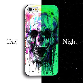 Hot Personality Vivid Colored Flower Skull Back Cover Case For iphone 4 4s 5 5s SE 5C 6 6S 6PLUS 6SPLUS Noctilucent Painted Case