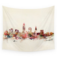 Society6 Cleveland Ohio Skyline Wall Tapestry