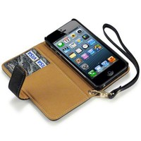 IPHONE 5/5S PREMIUM PU LEATHER WALLET CASE - BLACK/TAN, TERRAPIN RETAIL PACKAGING