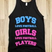 BOYS AND GIRLS LOVE FOOTBALL (BLUE & PINK FONT)