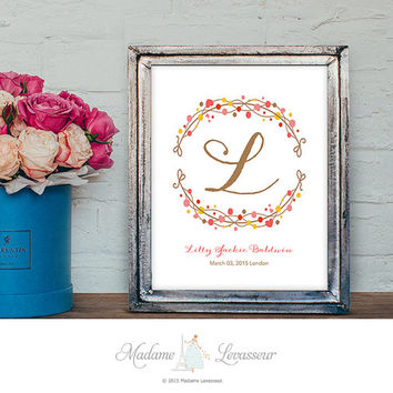 Baby Nursery Art Baby Birth Nursery Decor Monogram Floral Art Prints Personalized Art Birthday Gift Watercolor flower Monogram Logo Design