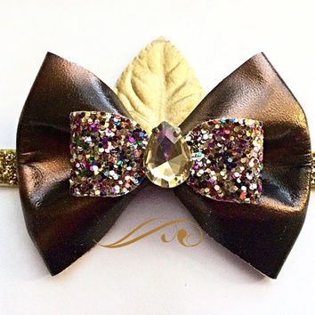 Girls Gold and Black  Caramel Swirl Leather Sparkly Bow Headband / Baby Jeweled Headband / Gold and Black Glitter Headband / Birthday bow