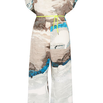 MM6 Maison Margiela Printed crepe jumpsuit – 67% at THE OUTNET.COM