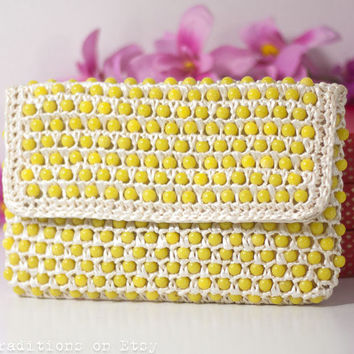 60's Yellow Purse Handbag Clutch Bag, Retro Summer Bag, Vintage Wicker Bag, Marked Made in Japan