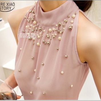 New Women Beading Chiffon Blouse Korean Fashion Sleeveless Women Turtleneck Chiffon Blouse Shirt Women Top S M L XL835I 42