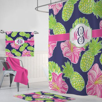 Pineapple Hibiscus SHOWER CURTAIN, Lilly Flower Custom MONOGRAM Personalized, Girl Sister Bathroom Decor, Bathroom Towel Mat Set