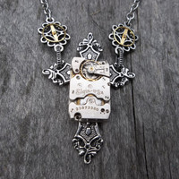 Clockpunk Steampunk Pendant Necklace, Antiqued Silver Gothic Cross with Elgin Watch Movement & Gears on Silver Cable Link Chain