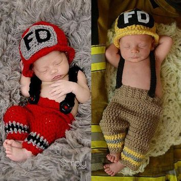 ESBON children knitted suit newborn baby photography accessories make up dress suits fireman costume playing