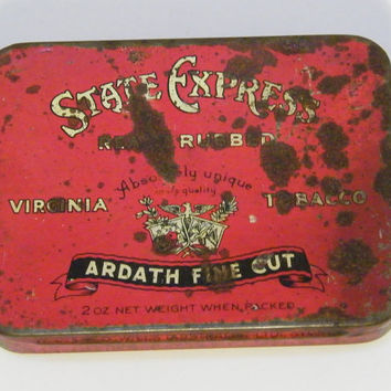 Vintage Tobacco Tin 1950s State Express Ready Rubbed Virginia Tobacco Ardath Fine Cut Tobacco 2oz Tobacco Tin