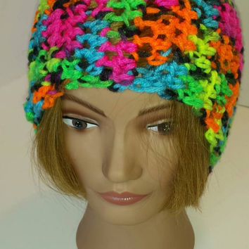 Handmade crochet Neon colored ear warmer, head  warmer, headwrap.
